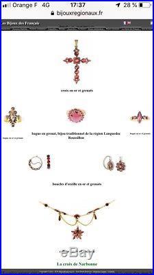 19ème POISSARDES ANCIENNES OR 18K GRENATS PERPIGNAN BIJOU REGIONAL LANGUEDOC