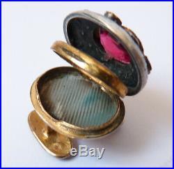 2 Boutons de col reliquaire grenat avec écrin bijou ancien 19e buttons garnet