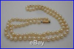 611 Ancien Collier sautoir 60 cm perles véritables fermoir OR 18 carats