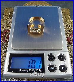 ANCIENNE BAGUE TANK OR JAUNE + 3 DIAMANTS DE 0,10 cts