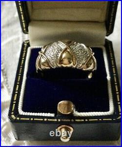 ANCIENNE LARGE BAGUE TANK EN VERMEIL/ ARGENT MASSIF OUVRAGÉ, Saphir Blanc