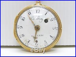 ANCIENNE MONTRE COQ XVIIIe LE ROY A PARIS BOITIER OR 18 CARATS POCKET WATCH