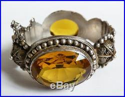 Ancien Bracelet rigide argent massif + pierres jaunes etnique silver