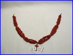 Ancien Collier Et Croix Religieuse En Corail Fermoir Or 18 Carats Coral Necklace