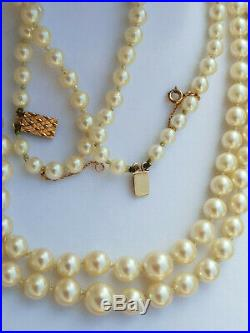 Ancien Collier Perles De Culture Veritables Double Rangs / Fermoir Or 18 K
