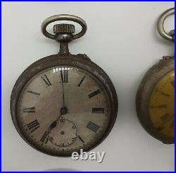 Ancien Lot 12 Montres Gousset Pour Pièces Argent Métal Cylindre Old Watch 4