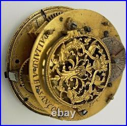 Ancien Mouvement Montre Oignon Coq 18ème Siècle Paliard À Besançon Old Watch