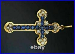 Ancien Sainte Croix Saphir Bleu & Diamant Pendentif 14K Jaune or Sur