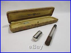 Ancien Stylo Plume Unic Retractable En Argent Et Ebonite Plume Or Fountain Pen