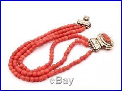 Ancien bracelet 3 rangs corail facette fermoir camée corail et argent vermeil