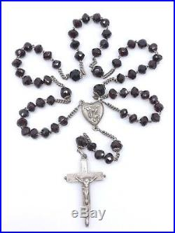 Ancien chapelet argent massif et grenats véritables croix reliquaire XIXeme