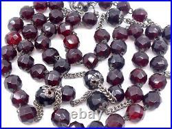 Ancien chapelet en argent massif et perles couleur rouge grenats XIXeme