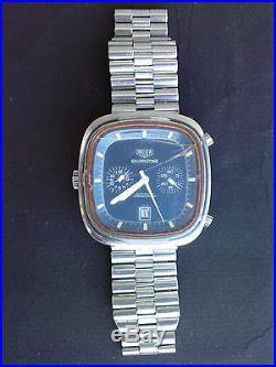 Ancien chronographe montre vintage SILVERSTONE TAG HEUER watch chronograph blue