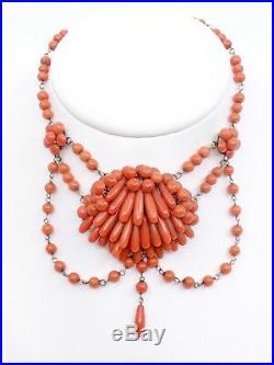 Ancien collier draperie perles de corail et or époque XIXeme