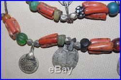 Ancien collier ethnique en corail amazonite ambre argent berbère Maroc