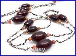 Ancien collier sautoir en Bakélite rouge cherry Amber corail et argent Art Deco