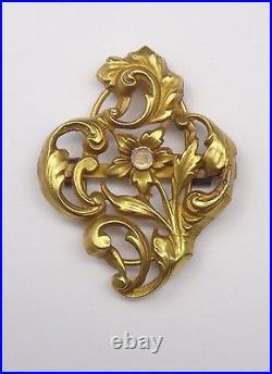 Ancien coulant de sautoir en or 18k Art Nouveau 1900 fleur