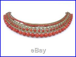Ancien grand diadème tiare peigne perles de corail facetté époque Empire XIXeme