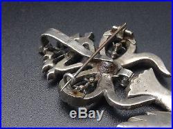 Ancien grand pendentif Saint Esprit argent massif et strass bijou Normand XIXe