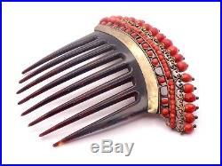 Ancien peigne diadème perles de corail rouge facetté XIXeme