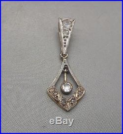 Ancien pendentif Napoléon III en or blanc 18 carats serti de diamants