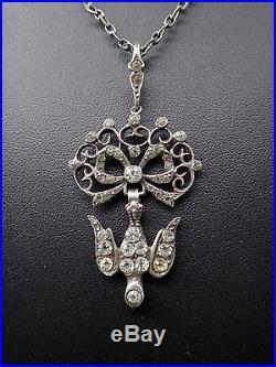 Ancien pendentif Saint Esprit en argent massif et strass bijou regional XIXe