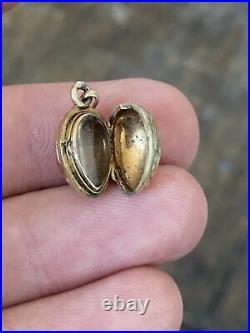 Ancien pendentif oeuf Fabergé 1900 art nouveau porte photo OR jaune 18K 750