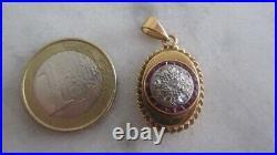 Ancien pendentif ouvrant or 18 carats rubis calibrés et roses de diamants