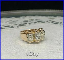 Ancienne Bague Tank Or Rose 18K 750 Vintage gold ring Art Deco