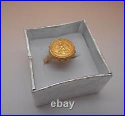 Ancienne Bague d'artisan en or 18 carats sertie d'un dos pesos