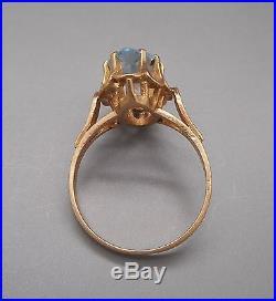 Ancienne Bague en or 18 carats sertie d'une aigue marine