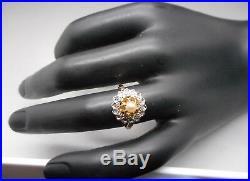 Ancienne Bague en or 18 carats sertie diamants et perle