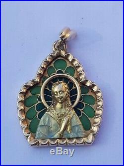 Ancienne Jolie Médaille Religieuse En Or 18 Carat et Email Plique A Jour