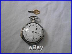 Ancienne Montre Coq Argent Leroy A Paris A Restaurer + Cle / Watch Silver / Uhr