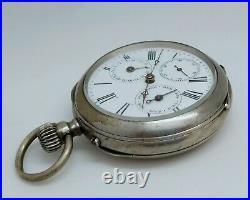 Ancienne Montre De Gousset Complications Jour Heures À Réviser Old Vintage Watch
