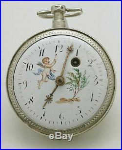 Ancienne Montre Gousset Au Coq Cadran Peint A Reviser Old Watch