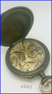 Ancienne Montre Gousset Chronographe Fonctionne Acier Noirci Old Vintage Watch