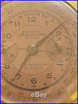 Ancienne Montre Homme Chronographe Helvetia Suisse