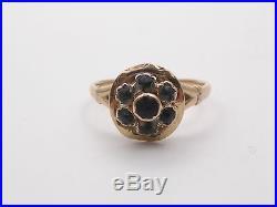 Ancienne bague en or 18k et pierre noire jais XIXeme Mourning ring T57
