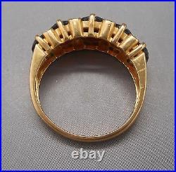Ancienne bague en or jaune 18 carats sertie de grenats et diamants