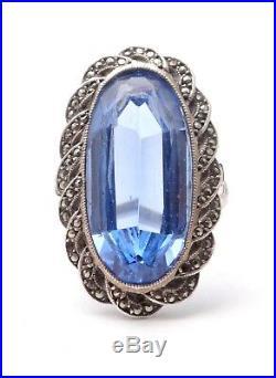Ancienne bague marquise en argent massif marcassites et pierre bleue 1900 T50