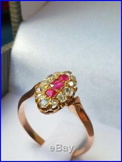 Ancienne bague navette en OR 18K rubis et diamants du XIXème