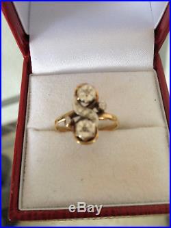 Ancienne bague or 18 carats, diamants, début du XXème siècle