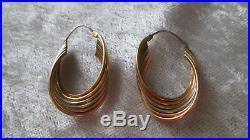 Ancienne boucles d'oreilles créoles or massif blanc jaune rose 18 carats