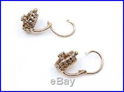 Ancienne boucles d'oreilles dormeuses en or 18k et perles XIXe