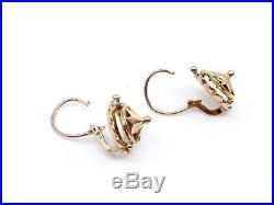Ancienne boucles d'oreilles dormeuses en or 18k étoile XIXeme