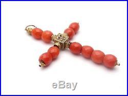 Ancienne croix Jeannette en or 18k email et perles de corail rouge XIXeme