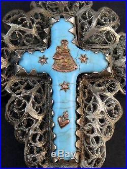 Ancienne grande croix argent massif filigrane émaillé Allemagne poinçon 13 lot