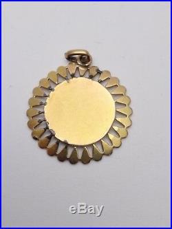 Ancienne médaille religieuse en or 18k Vierge pendentif