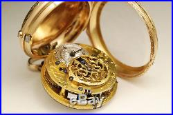 Ancienne montre gousset à coq en OR 18K 1780 RÉPÉTITION GOLD FUSEE POCKET WATCH